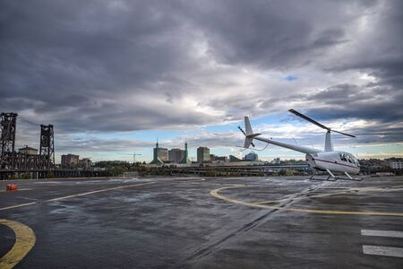 heliport: Helicopter at heliport