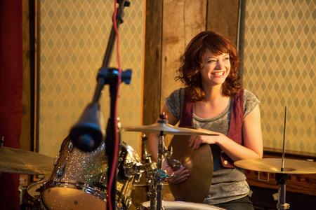 Drummer on a drumset Stok Fotoğraf