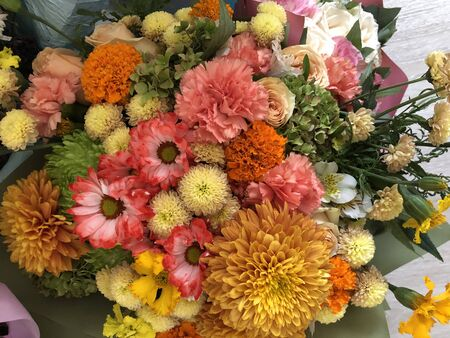 Bouquet of roses. Pink and white flowers. Spring bouquet. Gift to your girlfriend. Set of flowers for a woman. Green stems with leaves. Fresh flowers in paper and a vase. Plants at home. White and bright room. Lovers day. Happy valentines 版權商用圖片