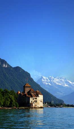 sea scape: Chillon Castle