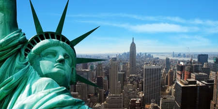 freedom tower: Statue of Liberty Stock Photo