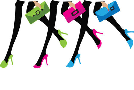 walking shoes: girls with colorful bags and shoes Illustration