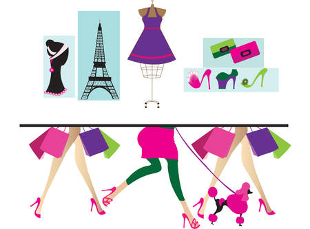 french style: shopping Illustration