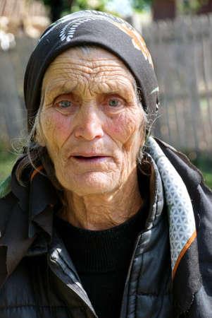 decrepit: Portrait of an aged woman Stock Photo