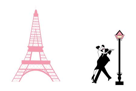 tango: Couple dancing at the Eiffel tower