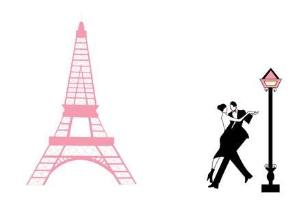 eiffel tower: Pareja de baile en la torre Eiffel