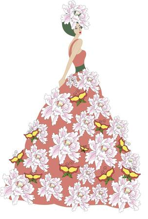victorian woman: The flower dress