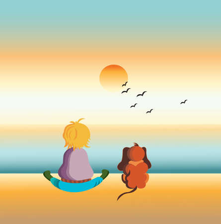 Illustration of a little boy watching the sunset with his dog illustration