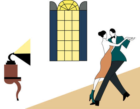 Illustration of a couple dancing illustration
