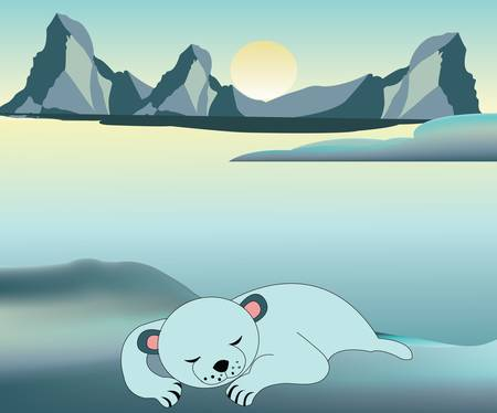 tundra: Bbay polar bear resting Illustration