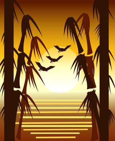 Bamboo sunset with cranes Vector