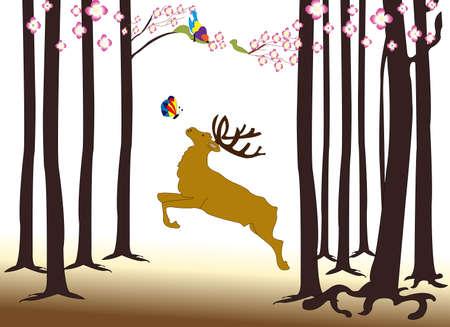 Illustration of a moose in teh forest illustration