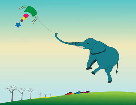 flying elephant with kite paper