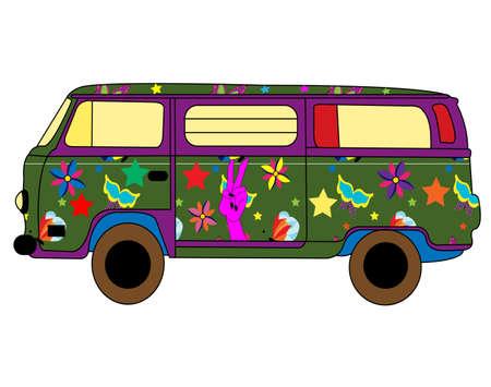60s hippie: hippie bus