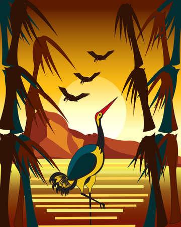 autumn seascape with cranes