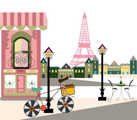 Scena parigina con bicicletta Archivio Fotografico - 89287764