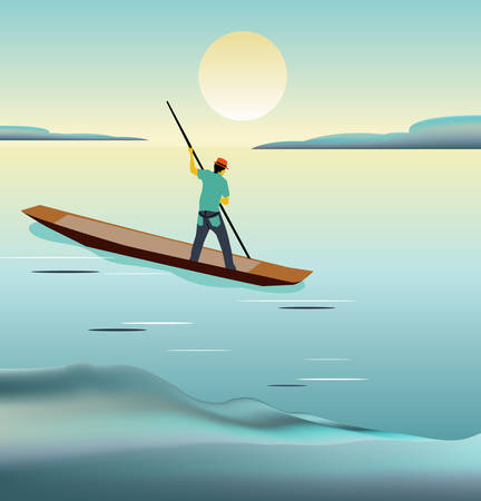 Seascape with man on his boat sailing away.