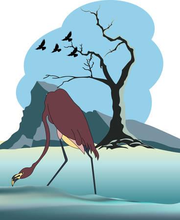 winter landscape with cranes