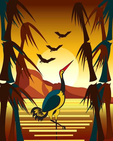 Autumn landscape illustration. Illustration