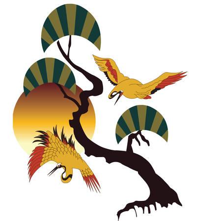 Autumn lanscape with cranes. Illustration