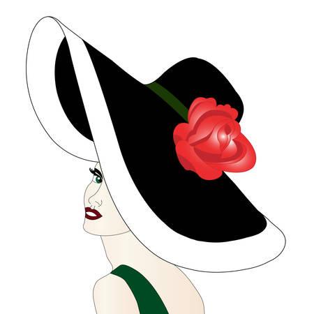 ローズと帽子の女性