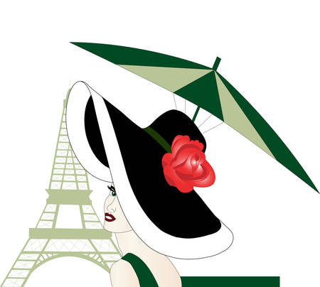 Woman in hat with rose at the eiffel tower.