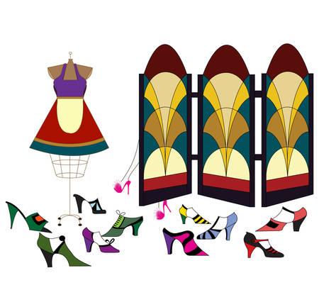 Dressing Room Vector Illustration