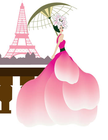 couture woman at the Eiffel tower Illustration