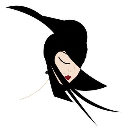 スタイリッシュな帽子を持つ女性のイラスト