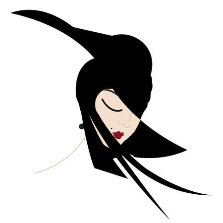 illustration d'une femme avec un chapeau élégant Banque d'images