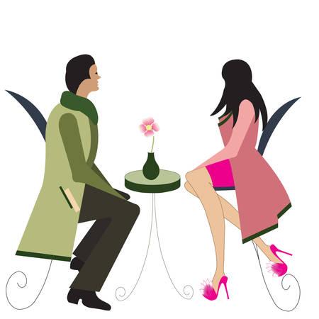 Parisian couple sitting in dinner table Illustration