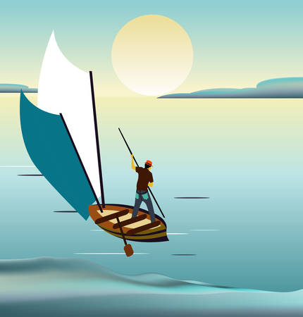 Man sailing in the sunset