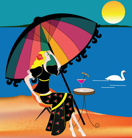 illustration of a woman on the beach dressed in an elegant black dress drinking her cocktail and relaxing under a colorful beach umbrella