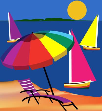 Beach scene with yacht umbrella and sun Illustration