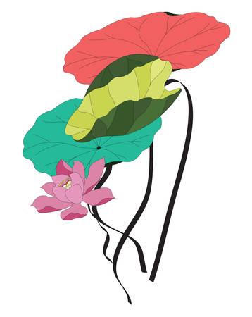 Illustrazione di un fiore di loto con varie foglie colorate Archivio Fotografico - 91001191