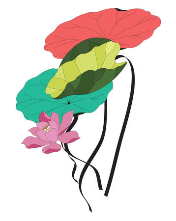 illustration of a lotus flower with various colorful leafs