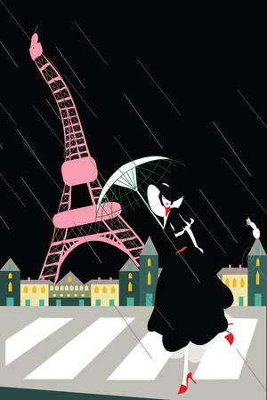 stylish woman at the eiffel tower on a rainy night Illustration