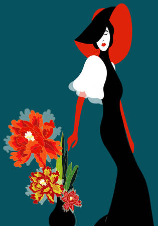 elegant woman near a vase with peonies Stock Illustratie