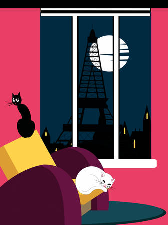 sleeping cat in an armchair with eiffel tower in the background Ilustrace