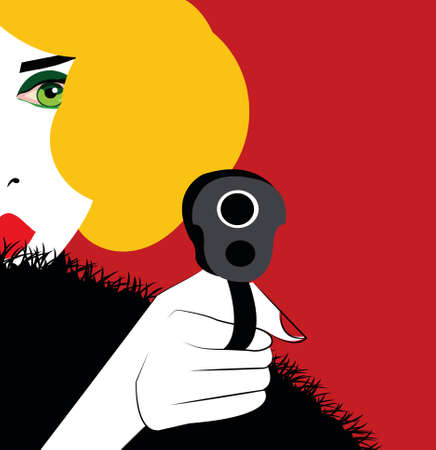 illustration of a blonde woman shooting Stock Photo
