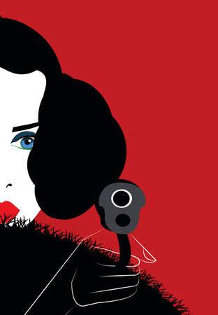 illustration of a brunnette woman holding a gun
