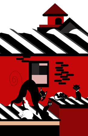 illustration of cats on a roof of a house Reklamní fotografie - 116547775