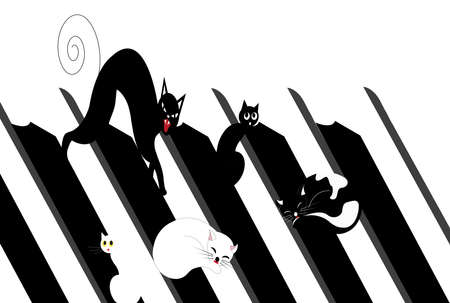 illustration of cats on a roof of a house, black and white Reklamní fotografie