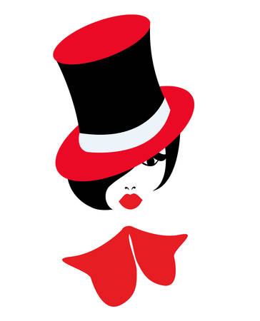 illustration of a cabaret girl with red ribbon and red hat