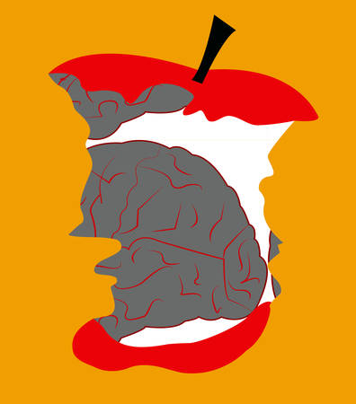 illustration of an apple in form of a brian that is eaten Illustration