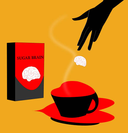 illustration of a brain as a sugar dropped in a coffe with a sugar package next to the coffee cup