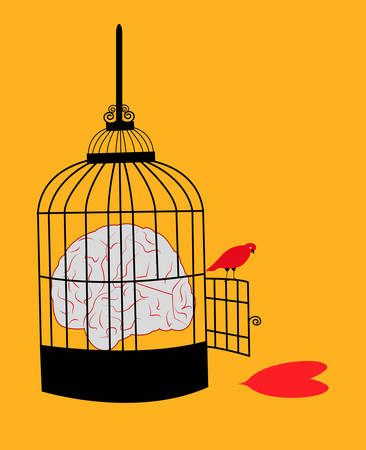 illustration of a caged brain with a free herat and a red bird looking at the heart