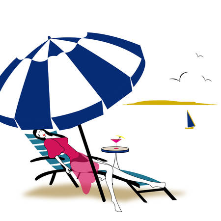 illustration of a girl relaxing under the umbrella on the beach with boat in the background, sialing away