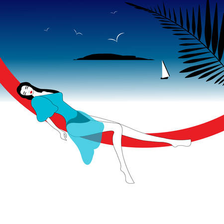 illustration of a girl on the beach with boat sailing away in the background