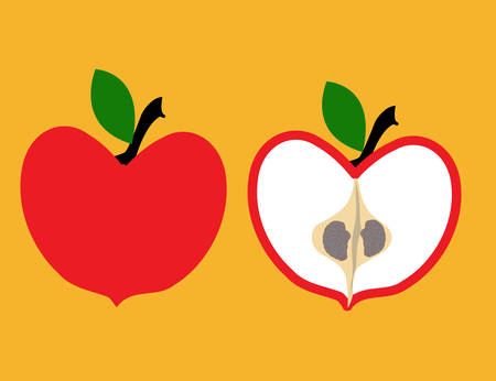 illustration of an apple cut in half with brain seeds